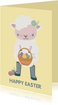Vrolijke paaskaart met lief schaapje met mandje paaseieren