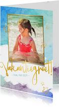 Vrolijke strand vakantiekaart met eigen foto en waterverf