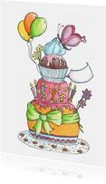 Vrolijke taart kaart