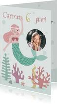 Vrolijke uitnodiging kinderfeestje zeemeermin met foto