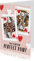 Vrolijke valentijnskaart met hartenkoning en hartenkoningin