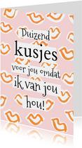 Vrolijke valentijnskaart vol met kusjes in oranje en roze