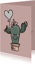 Vrolijke verjaardagskaart cactus met grijze ballon