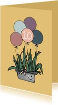 Vrolijke verjaardagskaart met cactus en heel veel ballonnen