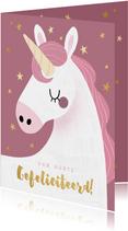 Vrolijke verjaardagskaart met eenhoorn en gouden sterren