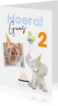 Vrolijke verjaardagskaart met feestelijke olifant