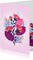Vrolijke verjaardagskaart met mooie bloemen