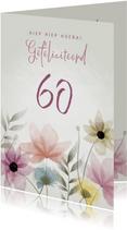Vrolijke verjaardagskaart waterverf bloemen 60 jaar