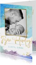 Vrolijke waterverf vaderdagkaart met foto en gouden letters
