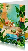 Vrouw relaxend in zwembad tussen de planten