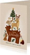 Weihnachts-Grußkarte Tiere im Wald