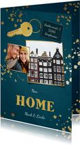 Weihnachts-Umzugskarte mit 2 Fotos und Schlüssel