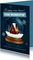 Weihnachts-Umzugskarte Schneekugel mit Haus