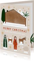 Weihnachtskarte Bastelbogen Weihnachtskrippe