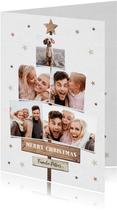 Weihnachtskarte Baum aus Fotos mit Sternen