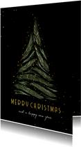 Weihnachtskarte Baum aus Zweigen 'Merry Christmas'