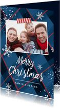 Weihnachtskarte blaues Schottenmuster & Foto