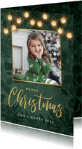 Weihnachtskarte botanisch Foto & Lichterkette