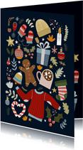 Weihnachtskarte Bunte Wintergrüße