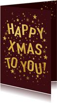 Weihnachtskarte dunkelrot Happy Xmas