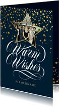 Weihnachtskarte Firma Foto Sternform & 'Warm wishes'