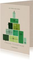 Weihnachtskarte Firma Weihnachtsbaum aus Geschenken