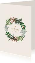 Weihnachtskarte Firma Weihnachtskranz klassisch