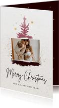 Weihnachtskarte Foto auf Weihnachtsbaum