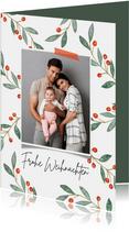 Weihnachtskarte Foto Zweige mit roten Beeren