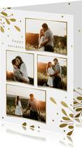 Weihnachtskarte Fotocollage mit goldenen Zweigen