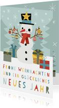 Weihnachtskarte Fröhlicher Schneemann