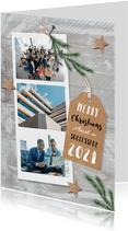 Weihnachtskarte geschäftlich Fotocollage auf Holz