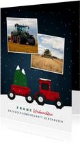 Weihnachtskarte geschäftlich Traktor mit Weihnachtsbaum