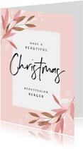 Weihnachtskarte geschäftlich Zweige pastell rosé