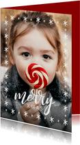 Weihnachtskarte großes Foto und merry XMAS