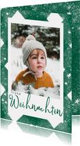 Weihnachtskarte grün mit Foto, Sternen & Glitzer