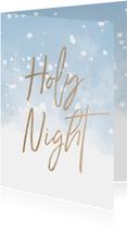 Weihnachtskarte Holy Night mit Schneeflocken