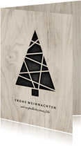Weihnachtskarte Holzlook mit Weihnachtsbaum