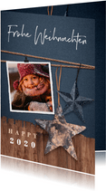 Weihnachtskarte Holzlook robust mit Foto und Sternen