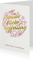Weihnachtskarte Illustration 'Glaube Liebe Hoffnung'
