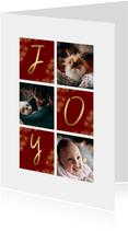 Weihnachtskarte JOY mit Fächern und Fotos