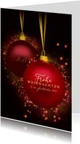 Weihnachtskarte klassische Weihnachtskugeln Glitzer