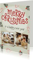 Weihnachtskarte 'Merry Christmas' Fotos und Dekoration