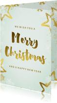 Weihnachtskarte mintgrün pastell mit Goldakzenten