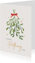 Weihnachtskarte Mistelzweig mit Schleife