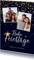 Weihnachtskarte mit 2 Fotos und goldenen Sternen
