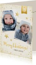 Weihnachtskarte mit 2 Fotos und Sternen