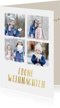 Weihnachtskarte mit 4 Fotos & Frohe Weihnachten in Goldlook