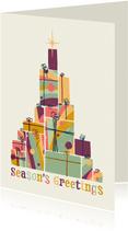 Weihnachtskarte mit bunten Geschenken
