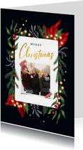 Weihnachtskarte mit Foto in botanischem Rahmen
